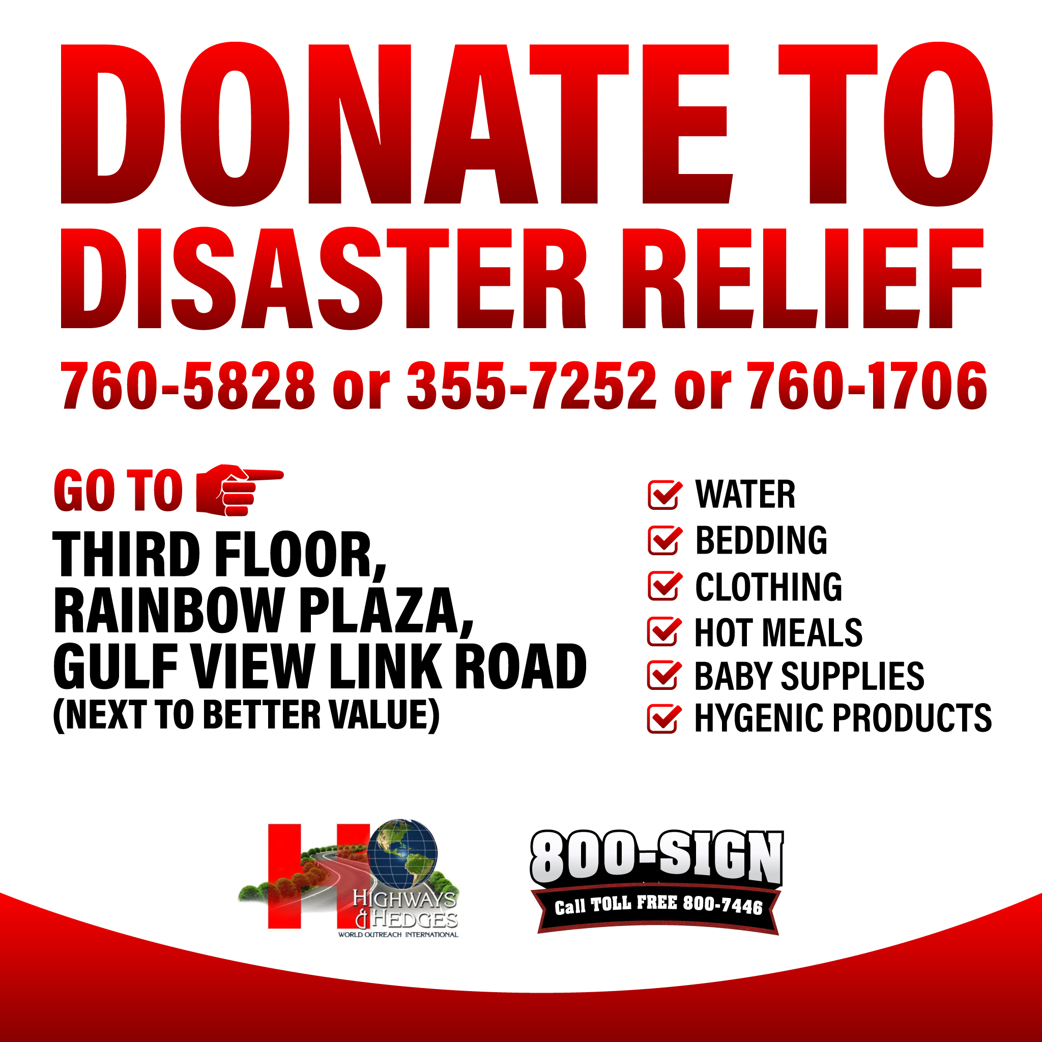 800 Sign flood relief